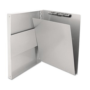 Snapak Aluminum Side-Open Forms Folder, 1/2  , Clip Cap, 8 1/2 x 12 Sheets, Silver