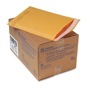 Jiffylite Self-Seal Bubble Mailer, #3, Barrier Bubble Lining, Self-Adhesive Closure, 8.5 x 14.5, Golden Kraft, 25/Carton