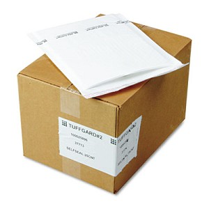 Jiffy TuffGard Self-Seal Cushioned Mailer, #2, Barrier Bubble Lining, Self-Adhesive Closure, 8.5 x 12, White, 25/Carton