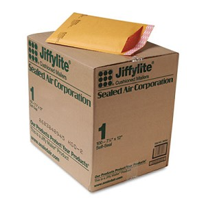 Jiffylite Self-Seal Bubble Mailer, #1, Barrier Bubble Lining, Self-Adhesive Closure, 7.25 x 12, Golden Kraft, 100/Carton