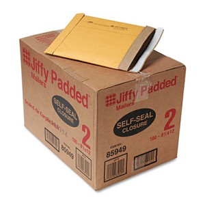 Jiffy Padded Mailer, #2, Paper Lining, Self-Adhesive Closure, 8.5 x 12, Natural Kraft, 100/Carton